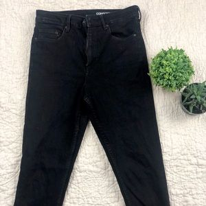 H&M high waisted black jeans with raw hem